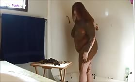 BBW american smears shit on naked body