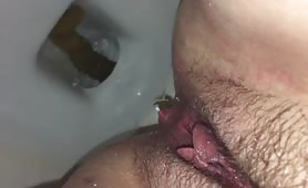 Shitting a big one in toilet
