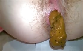 Huge turd stuck in tight ass