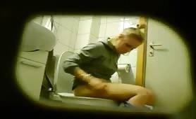 Spying on blonde girl shitting